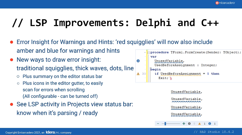 Overview of some LSP Improvements in RAD Studio 10.4.2