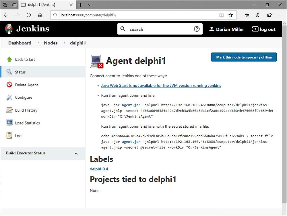 Jenkins Agent status screen