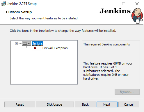 Jenkins Installer Wizard custom setup for adding exception to firewall