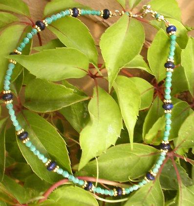 Turquoise & Lapiz Anklet