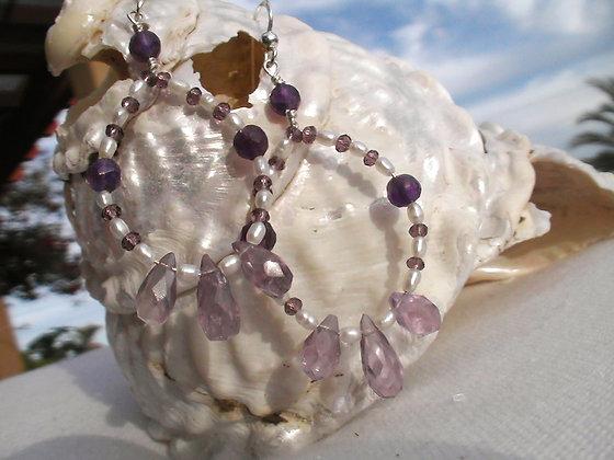 Amethyst Drops & Pearls