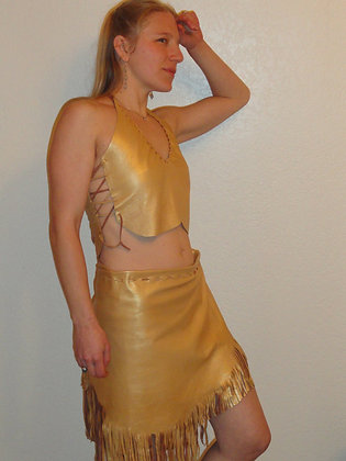 Gold Sheepskin Fringe Wrap Skirt and Bodice - SOLD