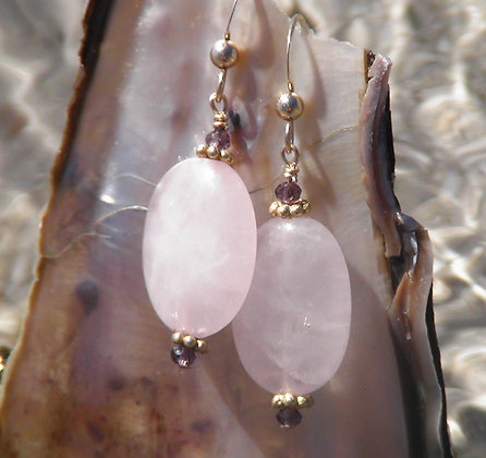 Rose Quartz and Amethyst 14kt
