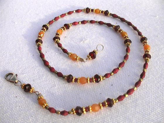 Carnelian, Garnet, Red Coral & Bronze Necklace