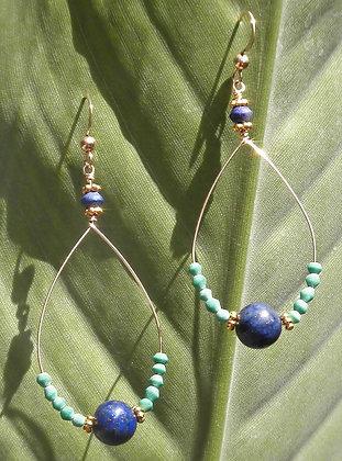 Lapiz & Turquoise Hoops