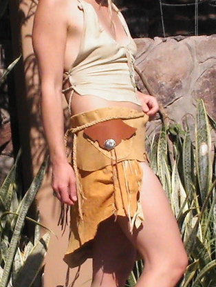 Tan Belt with Antique Concho Button