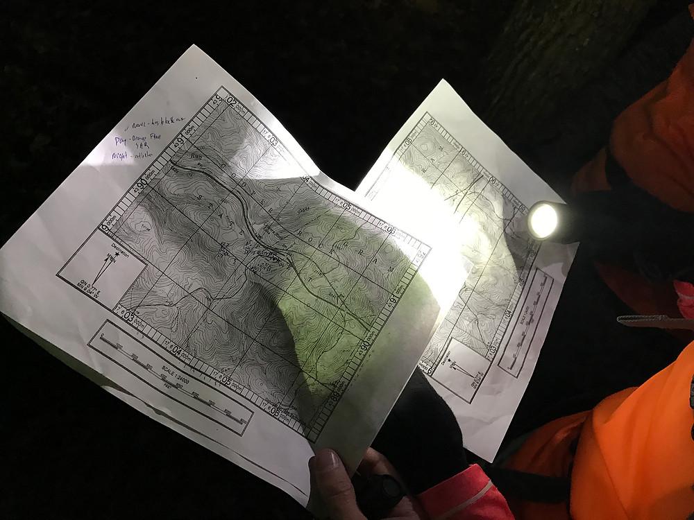 Photo showing topo maps.