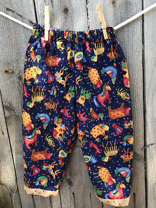Barnyard Animals print, pull-on pants