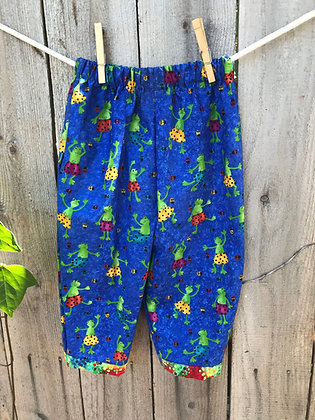 Summer Frogs print, pull-on pants