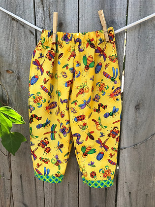 Yellow Silly Bugs print, pull-on pants