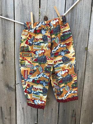 Trains print, pull-on pants