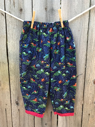 Navy frogs print, pull-on pants