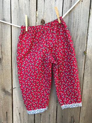 Retro Red bicycle print, pull-on pants