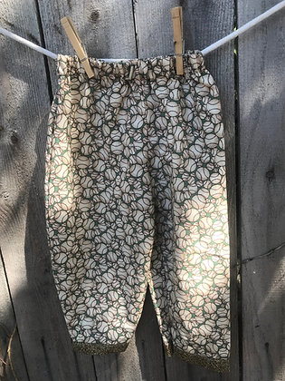 Baseballs print, pull-on pants
