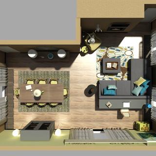 HomeRefiner Living Dining Room 3D - Teal