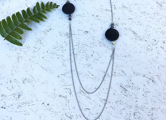 Long Necklace With Lava Stone