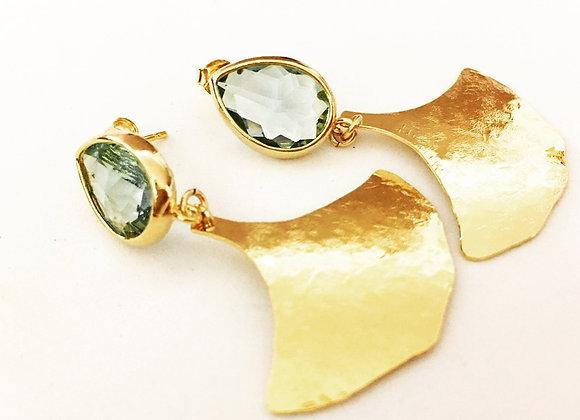 Crystal stud Leaf Earrings
