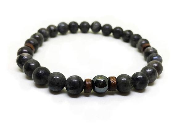 Men's Dark Grey Stone Bracelet