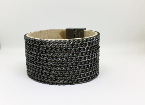 Wide Black Multi Chain Bracelet