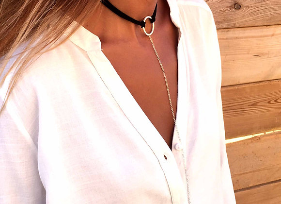 Black Choker with Long Necklace