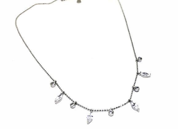 Silver Necklace CZ Elements