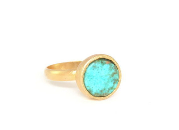 Turquoise gold Round Ring