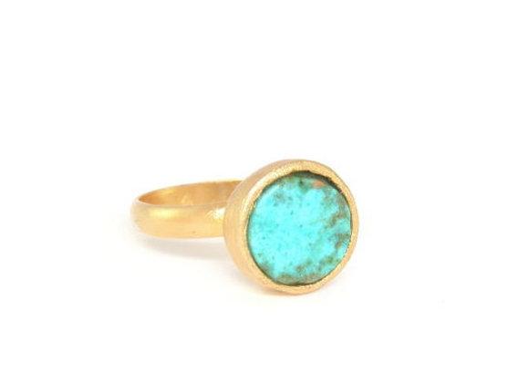 טבעת זהב עם טורקיז