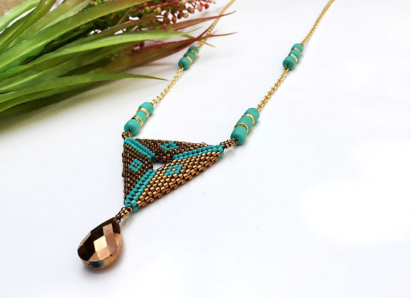 turquoise and bronze seed beads necklace
