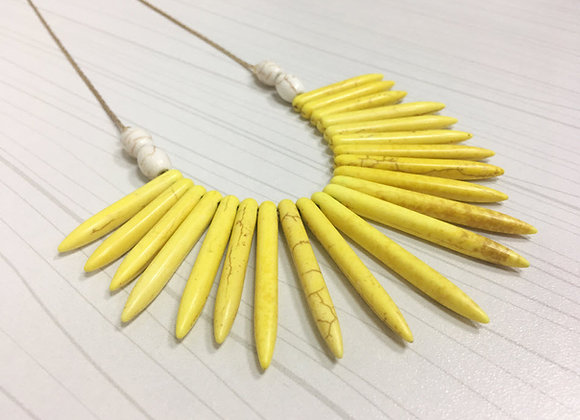 Yellow Howlite Spike Necklace