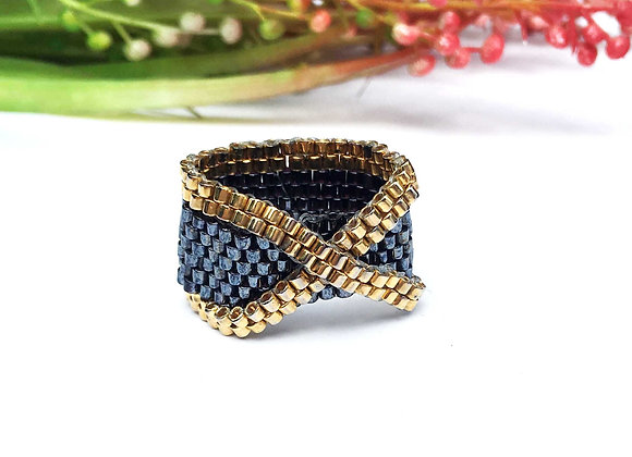 X Shape Beaded Ring