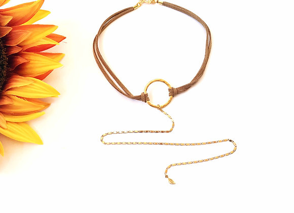 Brown Choker with Long Necklace