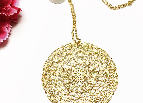 Gold Hollow Mandala Pendant