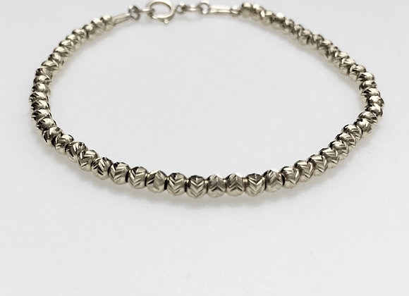 Diamond Cut Silver Beads Bracelet