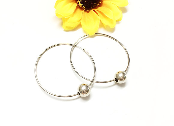 Large Hoop Silver Earrings