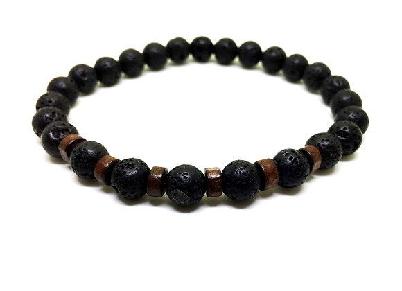 צמיד אבנים שחורות לגבר