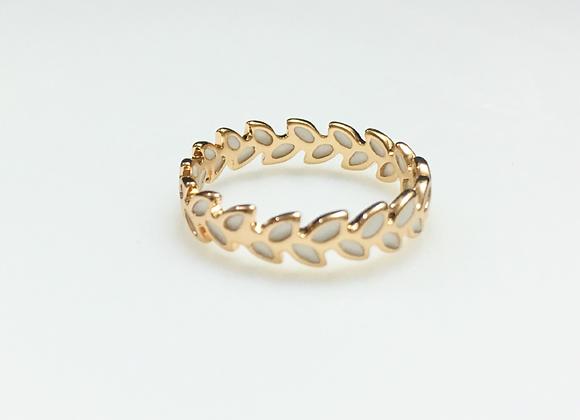 White enamel Leaf Ring