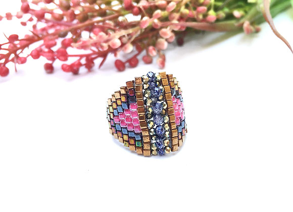 Seed Beads Ring With Crystals