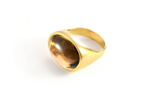 Oval gold Ring With Smoky Quartz