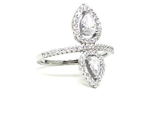 cz double teardrop ring