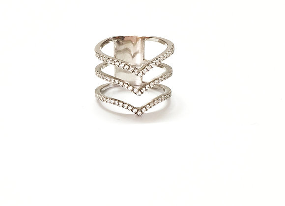 Arrow CZ Silver Ring
