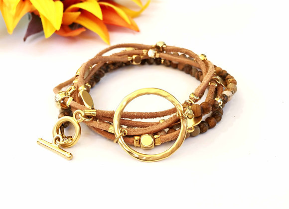 Brown Agate Wrap Bracelet