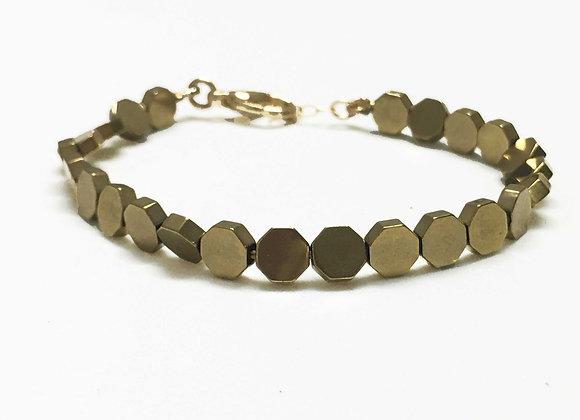 Small Disc Hematite Gold Bracelet