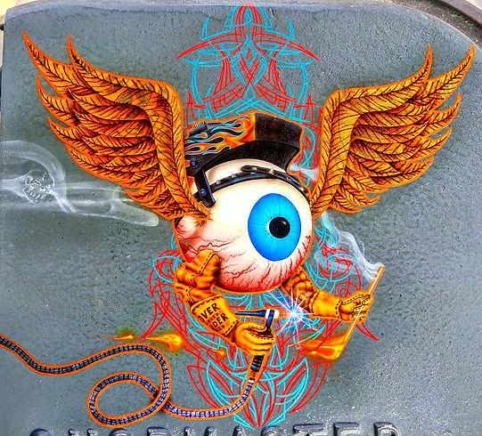 Airbrushed Flying Eyeball Welder & Pinstriping, Gold Leaf Flying Eyeball Wings, Airbrushed Flame, Airbrushed Smoke Skull, Airbrushed Welder Helmet
