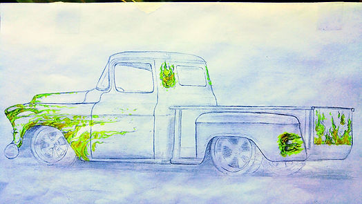Flames Painted On Cars, Airbrush Flame Paint Job, Truck Rendering, Chevy Truck Rendering, Vehicle Rendering Las Vegas, Hot Rod Renderings, Hot Rod Drawings, Hot Rod Flame Renderings