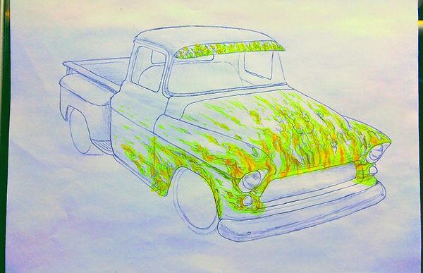 1957 Chevy truck Paint Job, Chevy Truck Custom Paint, Hot Rod Flame Paint Job, Flame Paint Jobs On Trucks, Real Flame Airbrush Paint, Airbrush Flame Paint Jobs
