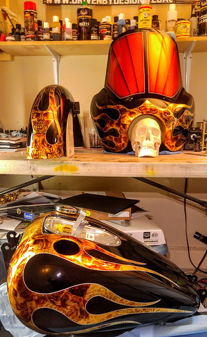 Gold Leaf Flame Custom Paint Job, Best Motorcycle Painter, Custom Motorcycle Paint Job, Airbrushed Skulls, Best Lowrider Paint, Las Vegas Custom Airbrushed Harley