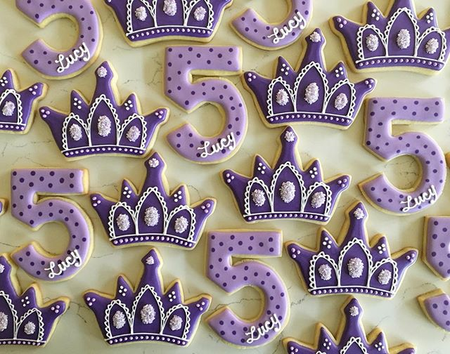 Happy Birthday Lucy! 💜 #trophybaking #customcookies #icedcookies #tiaracookies #portland