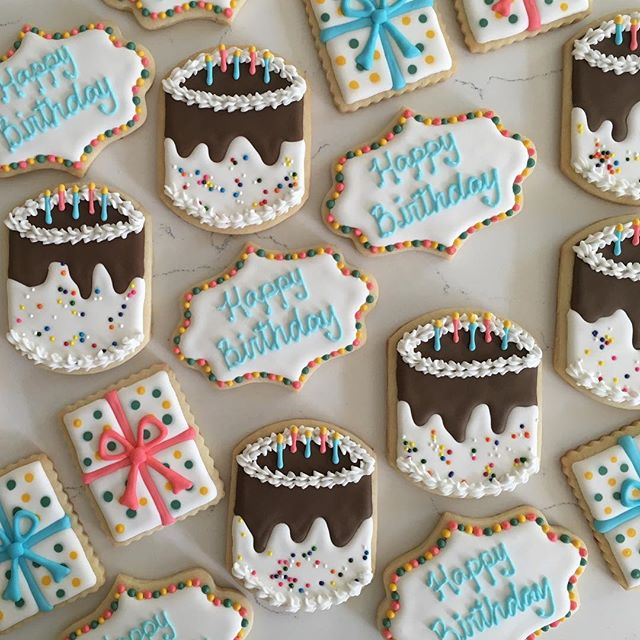 Cake and presents 🎉 #trophybaking #icedcookies #customcookies #birthdaycookies #portland