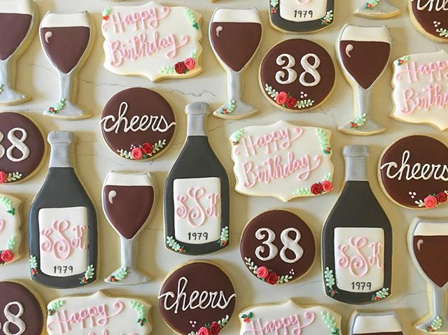 Happy Birthday Sara 🍷🍷_#trophybaking #customcookies #icedcookies #pdxcookies #portland #winecookie