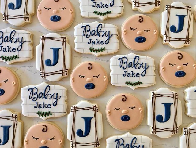 Welcome baby Jake 💙👶🏼_#trophybaking #customcookies #icedcookies #pdxcookies #portland _trina26